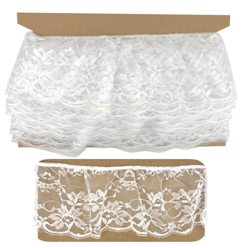 White wide lace, light weight nylon lace with scolloped edge and gathered top.