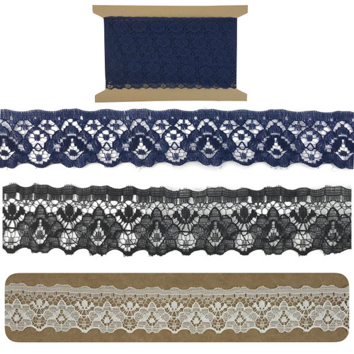 Flat rose lace in ivory, black or navy blue with a double scolloped edge.  Sold on a 10 meter card.