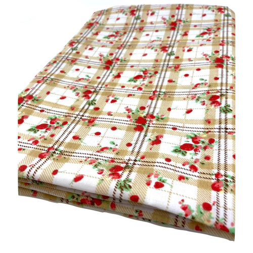 Strawberry print on beige check white polycotton.