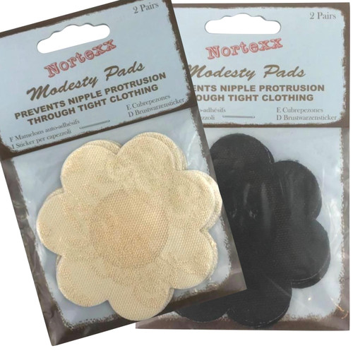 Flower shape nipple cover also known as modesty pads. Available in black or nude to discreetly cover your nipples when wearing tight fitting clothes.