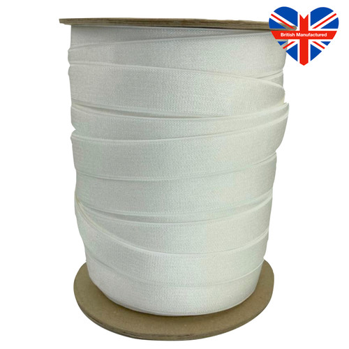 50 meter roll of soft white bra elastic 19mm wide. British Manufactured