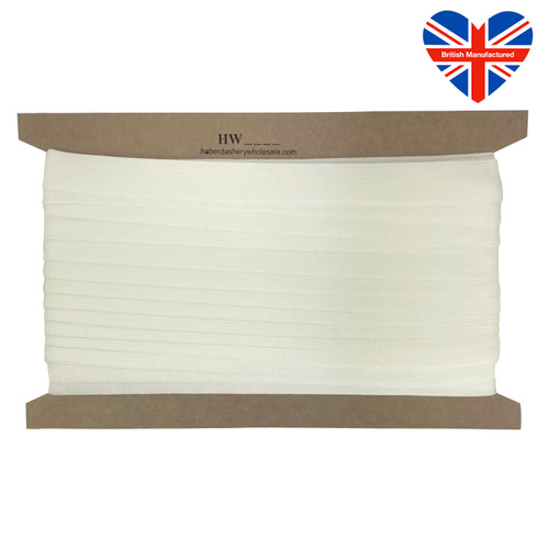 Latex free white elastic, very soft, 25meter card.