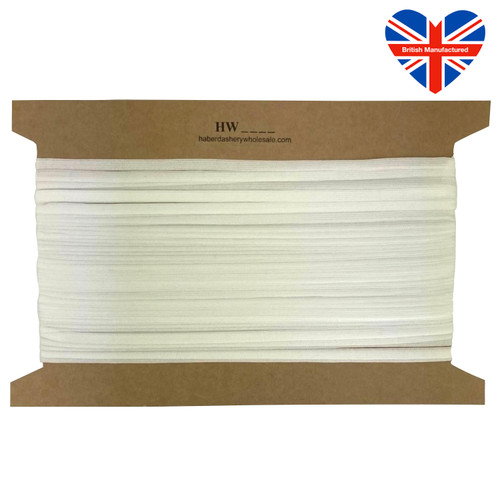 Soft white elastic latex free, ideal for face masks. Only 7mm wide, British Manufactured.