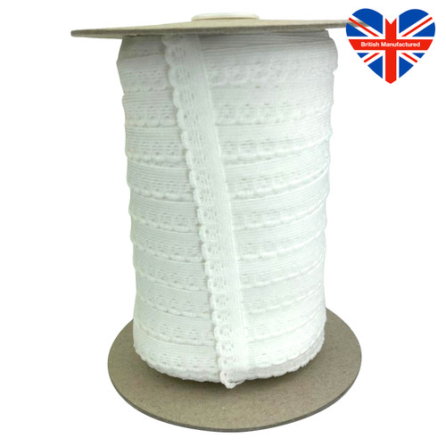 Very soft white elastic with flower scolloped edge.
