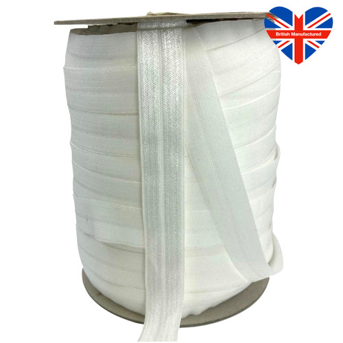 White satin finish soft elastic ribbon, 50 meter roll.