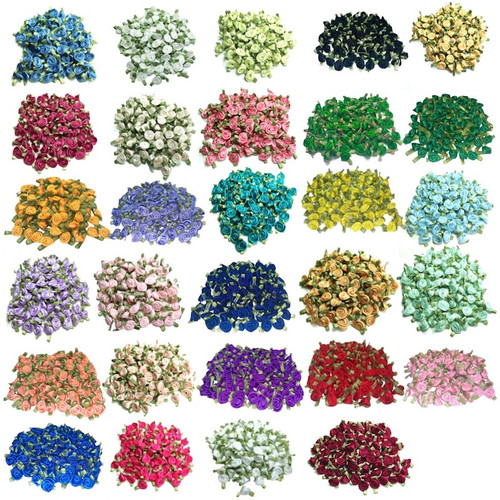 Wide variety of small ribbon rose buds with green leaves for decorating your crafts and sewing projects.