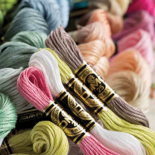 DMC stranded cotton embroidery threads in a variety of colours.
