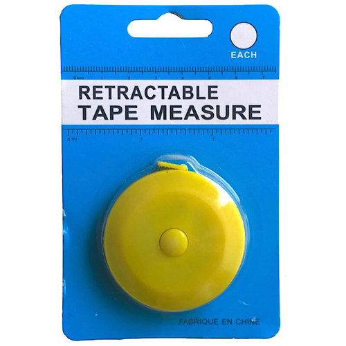 Small retractable tape measure with push button function. Fits into the palm of your hand.