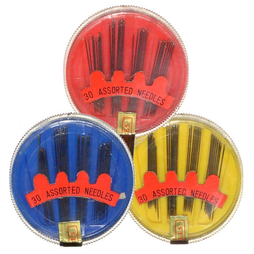 Compact of hand sewing needles in various sizes. The compact rotates / twists to deliver a sewing needle while keeping the rest safely secure.