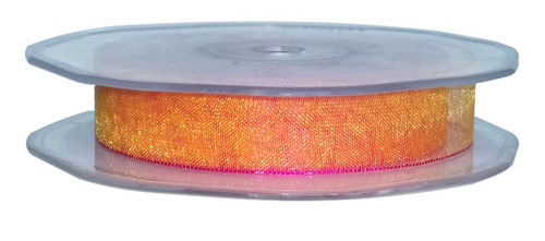 Organza ribbon in cerise orange two tone effect. 15mm wide and 25meter roll.