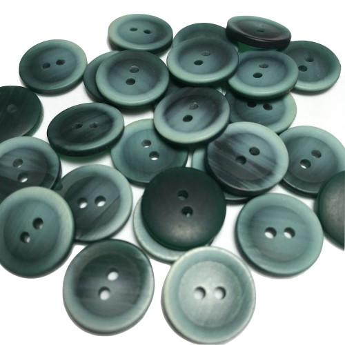 Green Button 2 Hole Rim Edge D:12mm 17pc