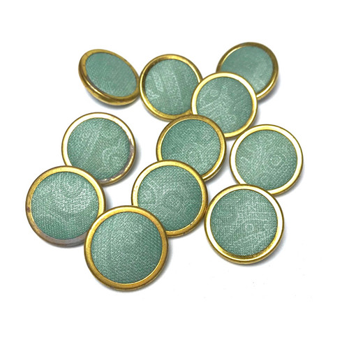 Duck Egg Fabric Button D:20mm Shank 11pc