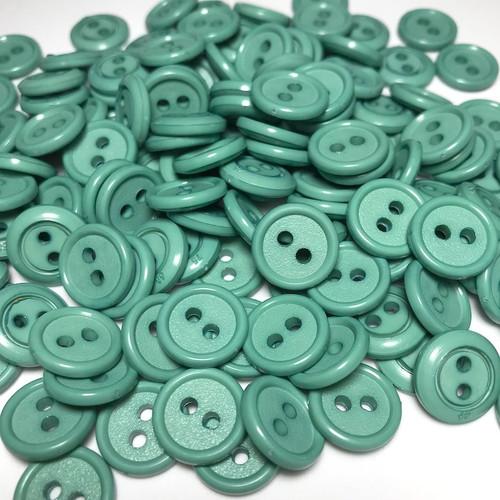 Green Button 2 Hole Rim Edge D:14mm 50pc