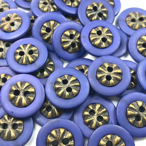 Small Purple Gold Button 18mm