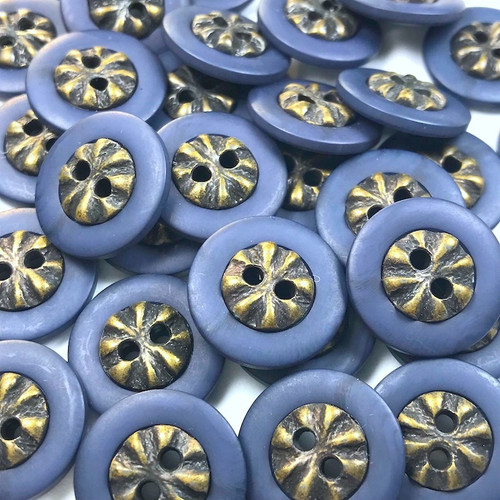 Small Midnight Purple Gold Button 18mm 50pc