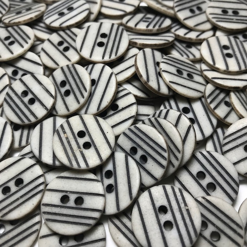 Grey with Black Stripe Button 20mm