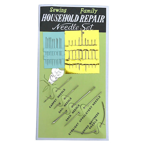 Assorted pack of household hand sewing needles, includes needle threader.