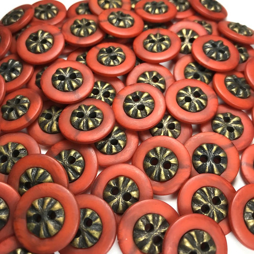 Red Gold Fashion Button 18mm