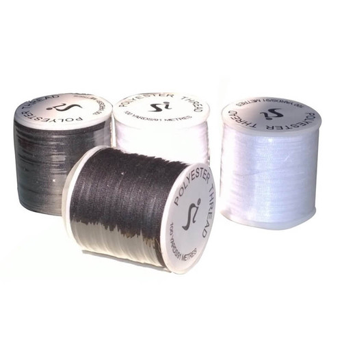 Black or White polyester sewing thread on 100 yard spool.