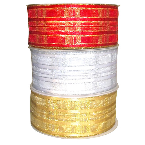 Festive lurex woven edge ribbon in red/gold, white/silver and gold/gold. 10 meter rolls.
