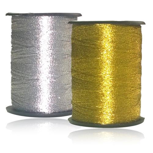 Metallic embroidery thread filament on 100 yard spool.
