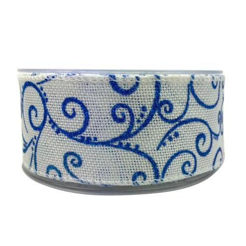 White hessian ribbon with blue glitter swirls. Christmas ribbon 50mm wide 10 meter roll.
