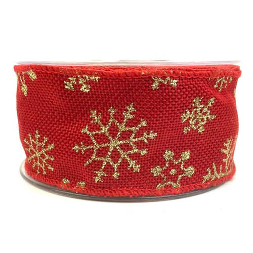 Red hessian ribbon with wire edge and gold glitter snowflakes. 50mm wide and 10 meter roll