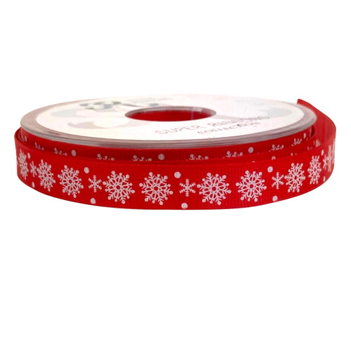White snowflake printed on red grosgrain ribbon. 16mm wide and 20 meter reel.