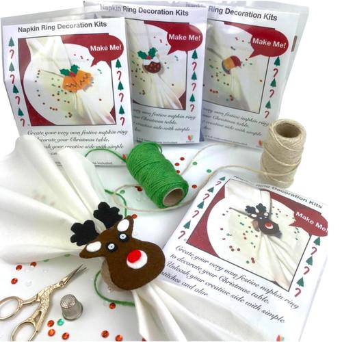 Christmas napkin ring craft kits. Choice of four designs.