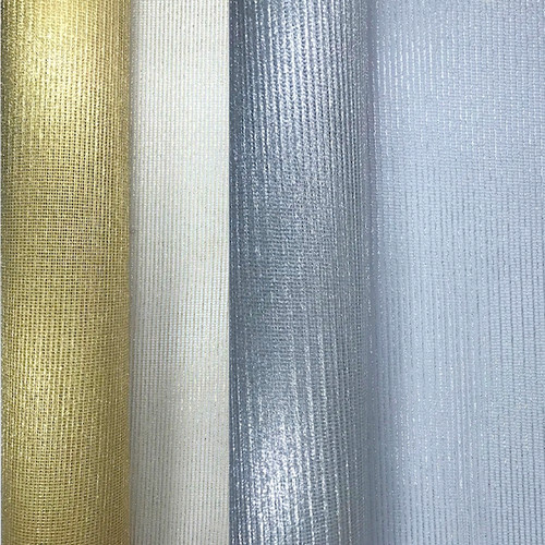 Square net organza fabric roll. Available in gold or silver.