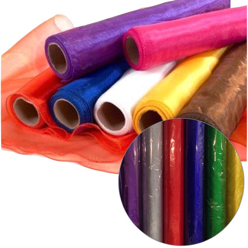 Plain colour organza fabric roll in a variety of colours.