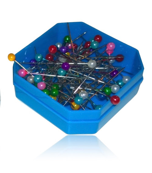Hexagonal plastic box with clear lid holding approximately 80 pearl head pins.