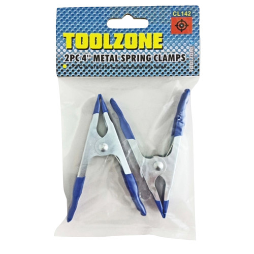 Two metal spring clip clamps with pvc handle covering.