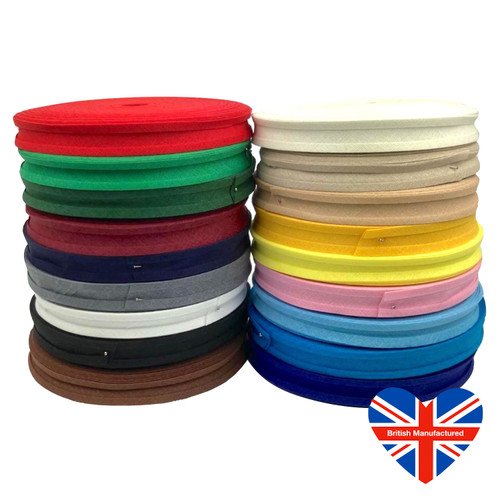 100% cotton bias binding, pre folded ready for use. 16mm wide after folding. Wide selection of colours.