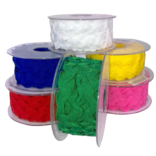 13mm ric rac 20 meter roll, variety of colours.