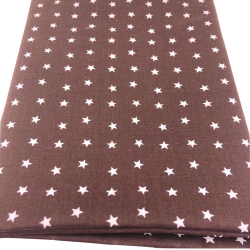 brown cotton fabric with printed white stars.