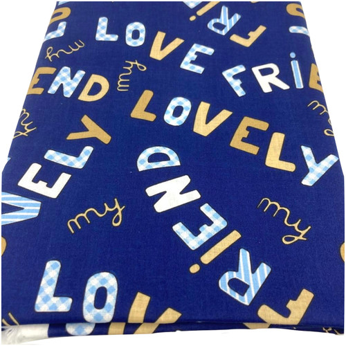 Navy cotton printed with friend, lovely, my love.