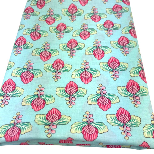 Blue aqua cotton with printed flower and green foliage. Stunning design.