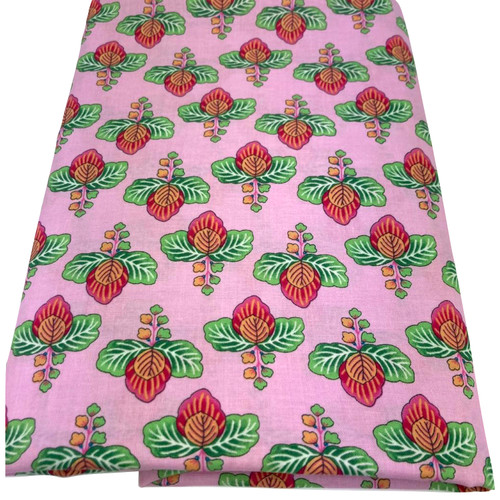 Pink cotton with printed flower and green foliage. Stunning design.