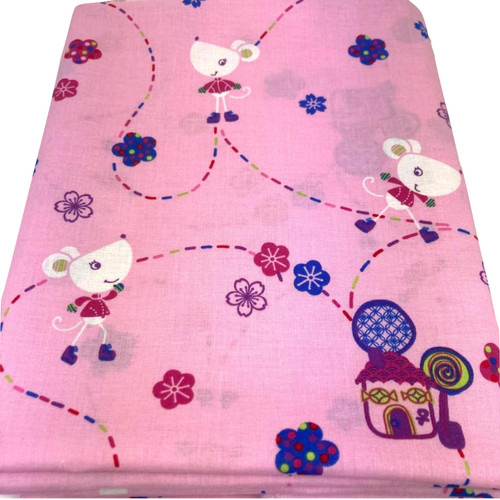 Nora the mouse pink cotton fabric. Colourful mouse and house printed design.
