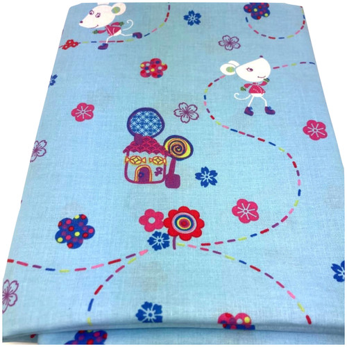 Nora the mouse blue cotton fabric. Colourful mouse and house printed design.