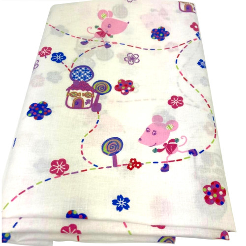 Nora the mouse white cotton fabric. Colourful mouse and house printed design.