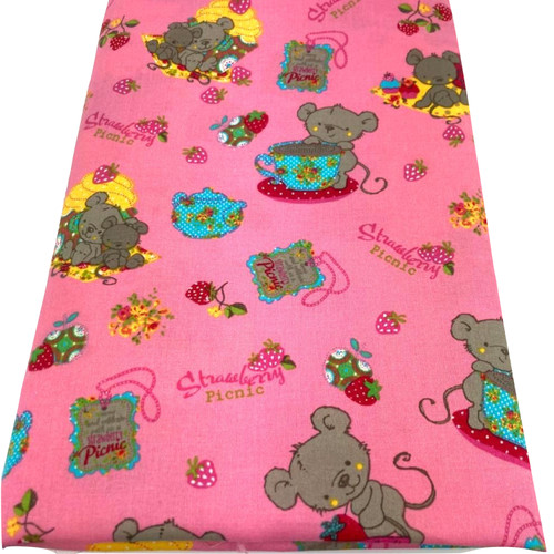 Pink cotton fabric with a mice tea party with teapots, strawberries and cups and saucers.