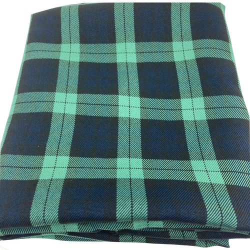 Black watch twill tartan fabric.