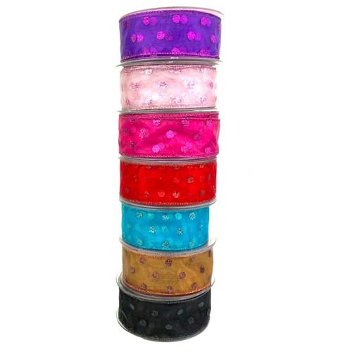polka dot glitter organza ribbon 10 meter. Variety of colorus.