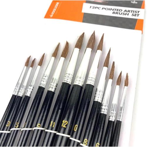 12 piece fine tip artist paint brush set.