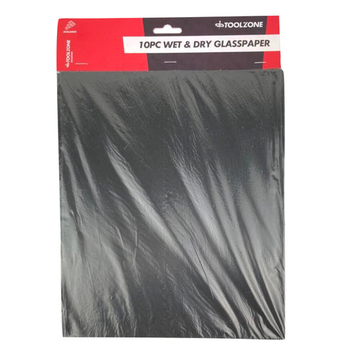 Toolzone wet and dry glass paper set of 10 pieces.