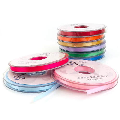 Double satin ribbon in 30 plus shades and a variety of widths.