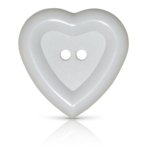 White heart button with two holes and deep rim edge.