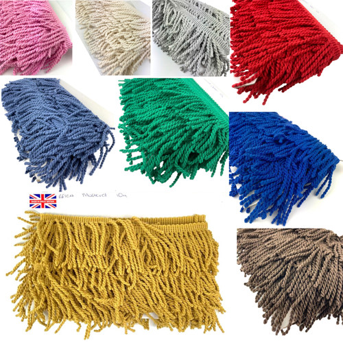 Cotton blend bullion fringing in various colours each on a 10 meter card.